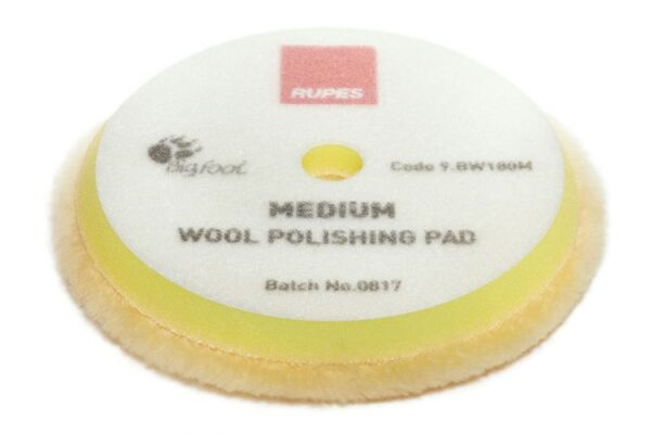 Medium wool polishing pads for random orbital, gear driven, and triple action